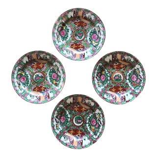 Rose Medallion Asian Porcelain Plates - Set of 4 For Sale