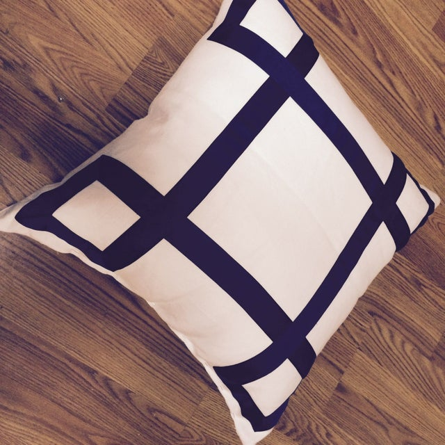 Navy Ribbon Pillow - A Pair - Image 3 of 4