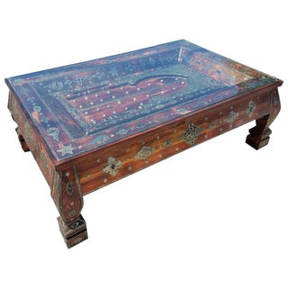Moroccan Rectangular Metal Inlaid Wooden Coffee Table