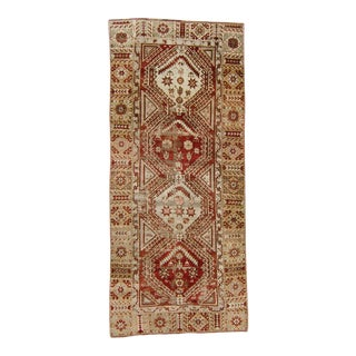 """1930s Vintage Distressed Oushak Medallion Rust Red Sage Wool Hand-Knotted Rug Runner - 4'3"""" X 9'11"""" For Sale"""