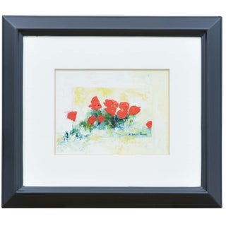 E Ronier Theron Bright Red Floral Painting For Sale