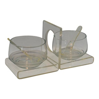 Mid-Century Modern Lucite & Glass Condiment Set