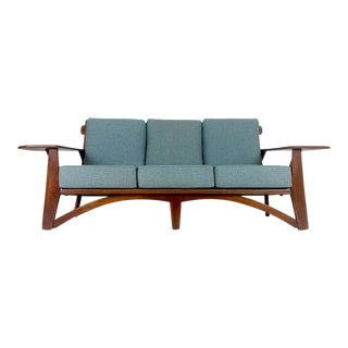 Impressive 1930s Cushman Maple Paddle Arm Sofa Designed by William DeVries For Sale