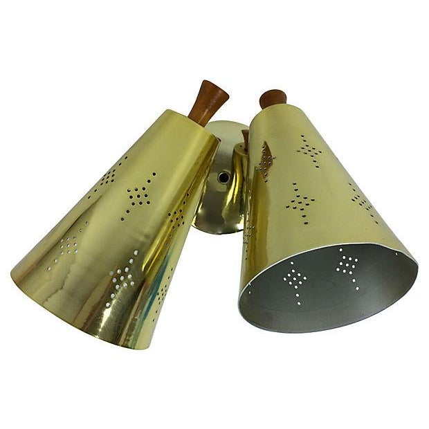Atomic Mid-Century Double Gold Sconce For Sale - Image 5 of 7