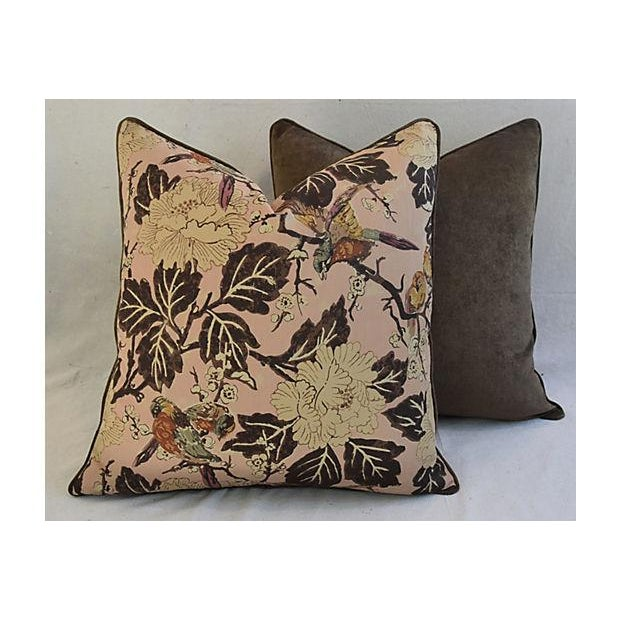 """Brown Custom Chinoiserie Floral & Birds Feather/Down Pillows 26"""" Square - Pair For Sale - Image 8 of 12"""