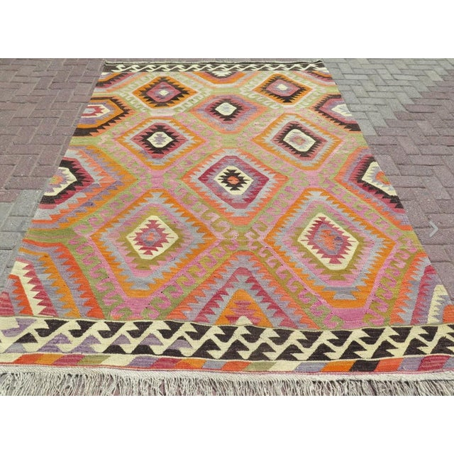 Vintage Turkish Kilim Rug- 5′9″ × 8′5″ - Image 3 of 6