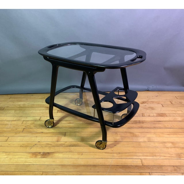 1950s Ico Parisi 1955 Ebonized Mahogany Bar Cart, Italy For Sale - Image 5 of 11