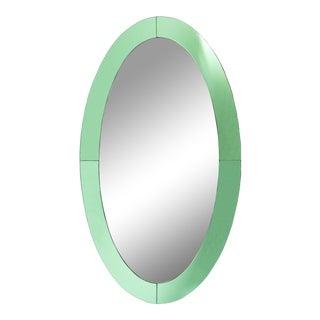 Italian Mid-Century Fontana Arte Style Green Glass Wall Mirror For Sale