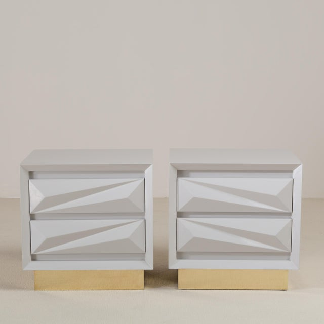 Contemporary A Customizable Standard Pair of Lacquered Asymmetrical Side Cabinets by Talisman Bespoke For Sale - Image 3 of 7