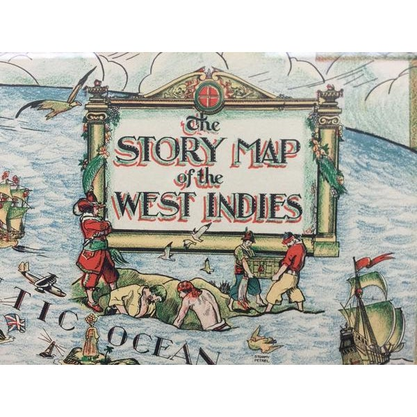Fabulous framed color map of the West Indies, published 1936, with a border design motif adapted from native West Indian...