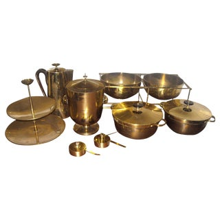 Tommi Parzinger Dining Ware for Dorlyn Silversmith in Brass - 11 Pieces For Sale