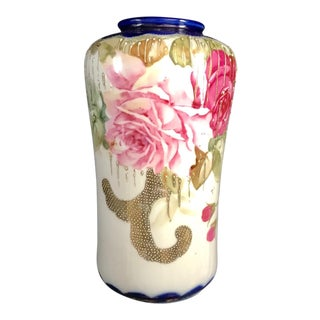 Vintage Mid Century Hand Painted Vivid Colored Japanese Floral Vase With Gilt Relief For Sale