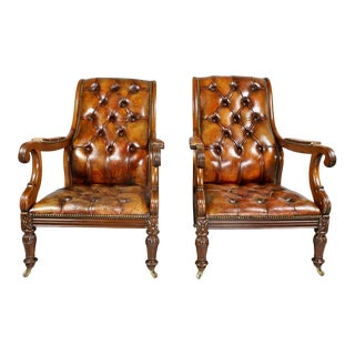 Pair of Late Regency Mahogany and Leather Armchairs For Sale