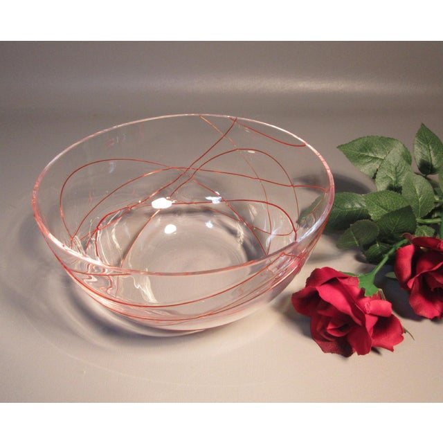 A superb, delicate, hand blown art glass bowl, Murano, Italy. Clear Glass w/ Applied Ruby Red Threaded Glass. A Mid-...