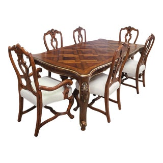 Drexel Heritage Belle Maison Mahogany/Cherry Table & Henredon Chairs Dining Set For Sale