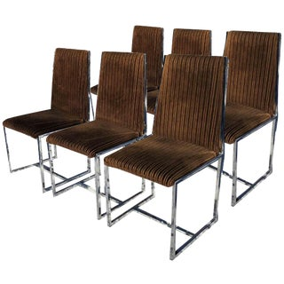 1970s Mid-Century Modern Milo Baughman Style Dining Chairs - Set of 6