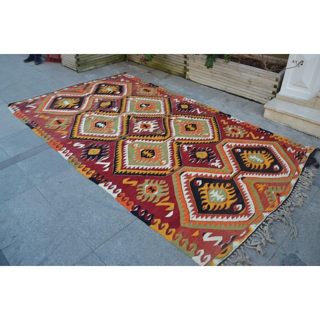"Turkish Kilim Wool Rug - 5'8"" x 10' - Image 3 of 6"