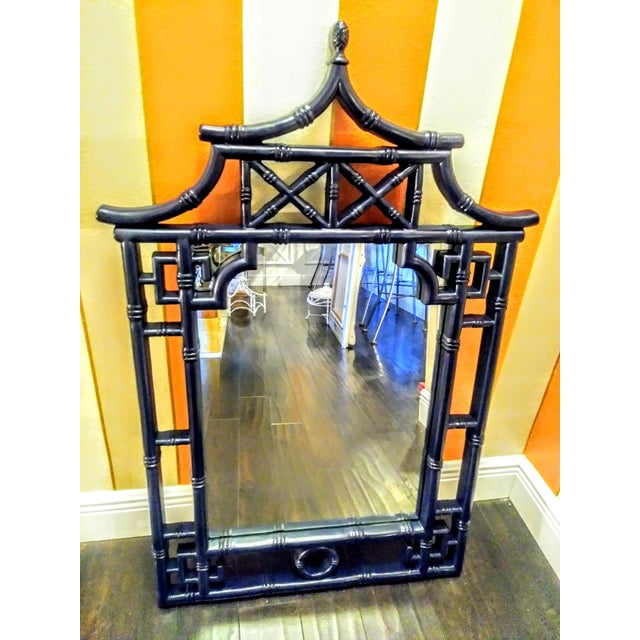 Navy Blue Palm Beach Regency Chinoiserie Navy Blue Pagoda Faux Bamboo Fret Work Wall Mirror For Sale - Image 8 of 8