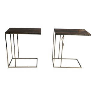 Polished Nickel With Macassar Ebony Top Drink Tables -A Pair For Sale