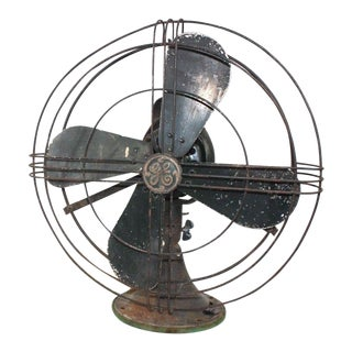 "1920s Vintage Ge General Electric Modern Industrial 18"" Steel Table Desk Fan For Sale"