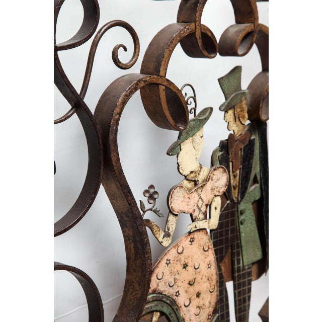 Metal Unusual French Art Deco Figural Fire Screen For Sale - Image 7 of 10