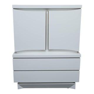 Mid Century Modern White Lacquered Highboy Dresser