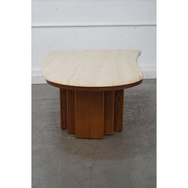 Danish Teak Base Travertine Top Coffee Table - Image 5 of 9