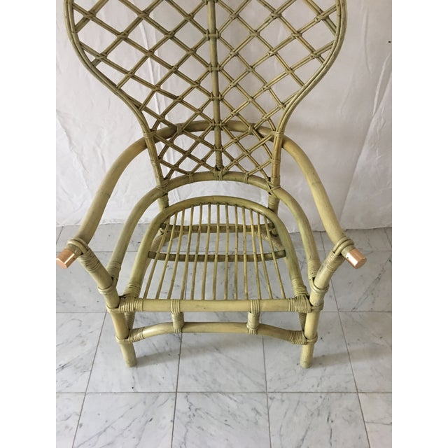 Vintage Green Rattan Fan Back Chair - Image 6 of 11