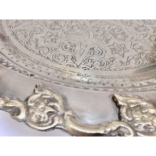 Moroccan Polished Round Footed Silvered Tray With Brass Preview