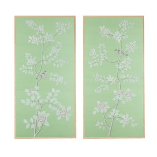 """Ambleside"" Jardins en Fleur Chinoiserie Diptych Paintings on Silk - 2 Pieces For Sale"