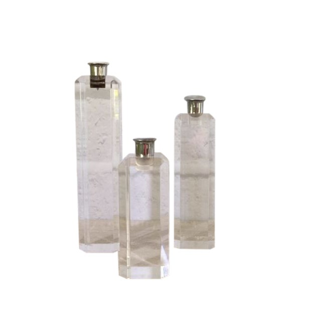 Graduated Ritts Astrolite Lucite Candle Holders - Set of 3 For Sale