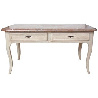 Large Painted Console Table With Original Marble Top, Early 19th Century, France For Sale