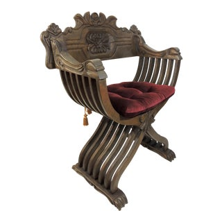 Stately European Carved Wood Savonarola Arm Chair & Tasseled Burgundy Velvet Cushion For Sale