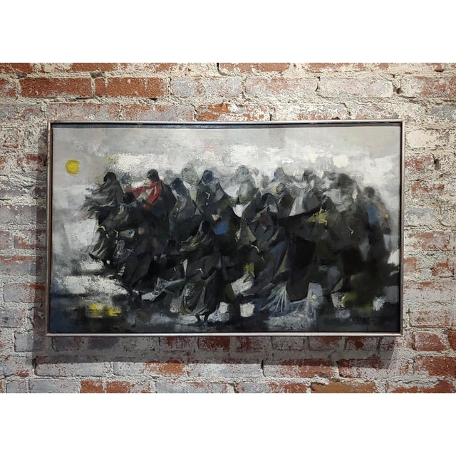 Juan Ruiz Chamizo -Procession of Nuns - Oil Painting C.1965 For Sale - Image 11 of 11