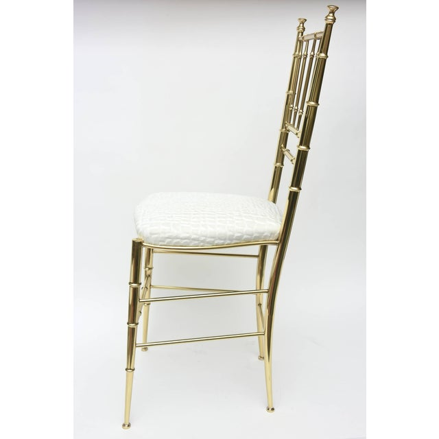 Vintage Mid Century Italian Chiavari Faux Bamboo Brass and Upholstered Side Chair For Sale - Image 4 of 11