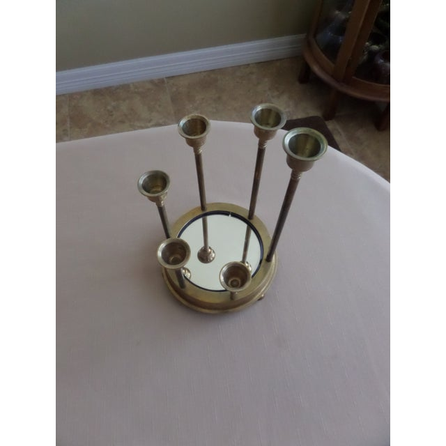 Solid Brass Tulip Shape on a Circular Mirrored Footed Platform For Sale - Image 4 of 8