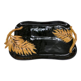 Glossy Black Tray With Palm Leaf Handles For Sale