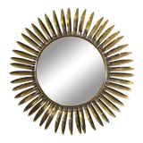 Image of 1960s French Brass Soleil or Sunburst Convex Wall Mirror For Sale