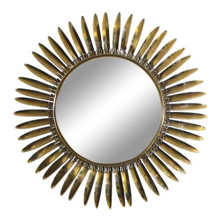 1960s French Brass Soleil or Sunburst Convex Wall Mirror For Sale