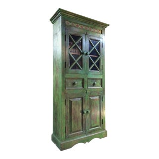 Magnificent Antique Cupboard Pantry French Painted Provincial Style Distressed For Sale
