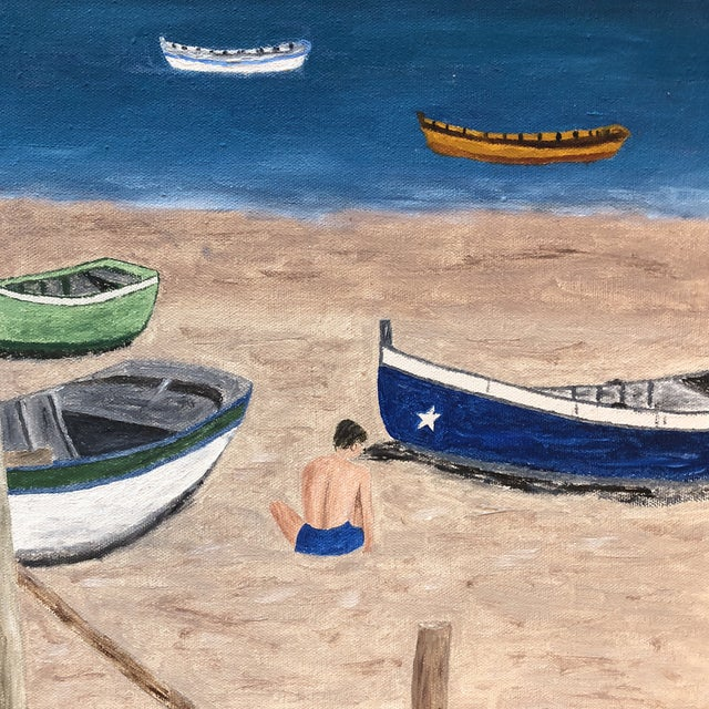 Mid Century Naive Boating Beach Scene. Painting For Sale - Image 4 of 8