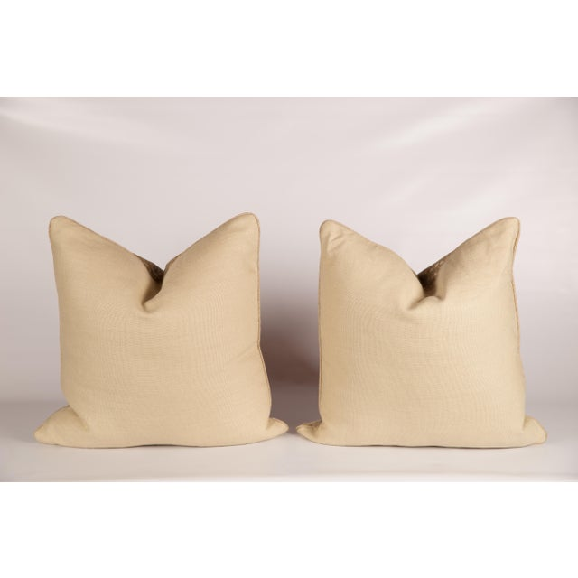 Khaki Chenille Antelope Pillows - a Pair - Image 5 of 5