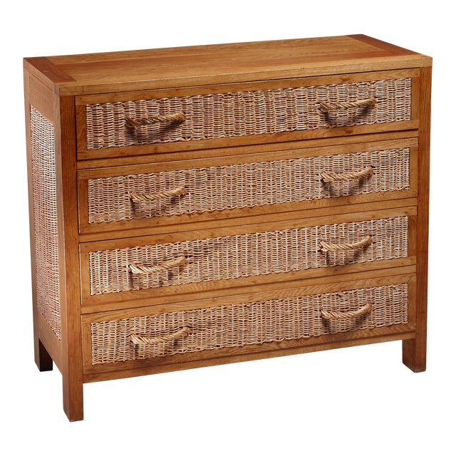 Jean Touret oak and wicker commode for Marolles, France, 1950s For Sale