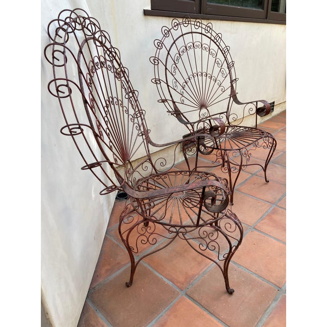 Vintage Mid-Century Salterini Style Peacock Chairs - a Pair For Sale - Image 11 of 12