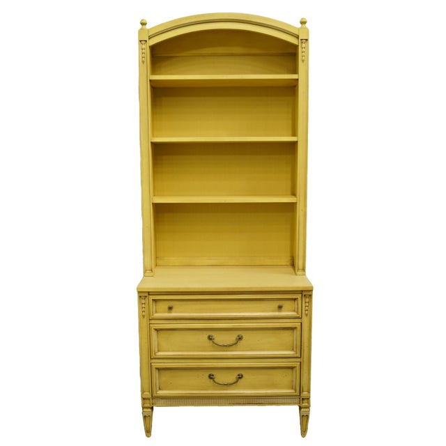20th Century French Provincial Basic-Witz Cream / Yellow Painted 3-Drawer Chest With Bookcase For Sale - Image 12 of 12
