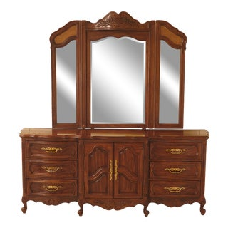 Furniture Co French Style Oak Dresser with Mirror For Sale