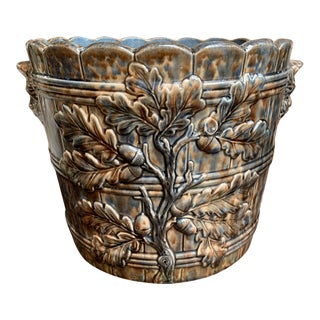 19th Century French Majolica Cache Pot Planter Jardinière Acorn, Blue Barbotine For Sale