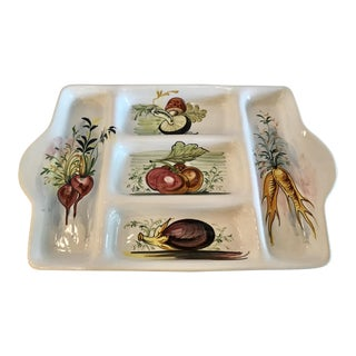 Vintage Hand Painted Italian Vegetable Serving Tray For Sale