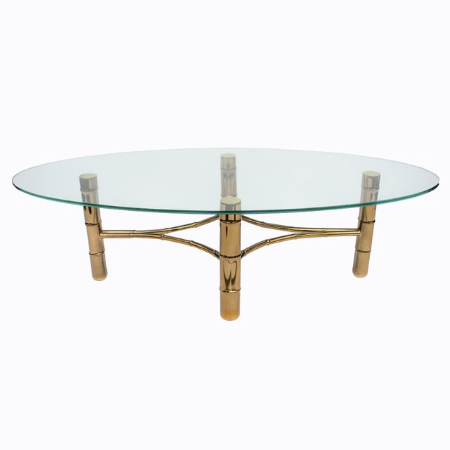 Brass Hollywood Regency Brass Faux Bamboo Oval Coffee Table For Sale - Image 8 of 8