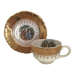 1949 Homer Laughlin Cup and Saucer With Gold Decoration For Sale